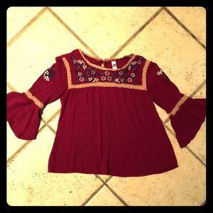 Bohemian Long Sleeve  Shirt, girls size 8-10